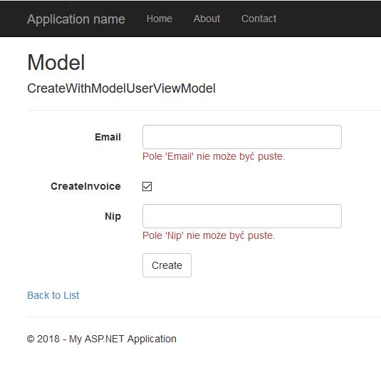 Wynik własnej integracji Fluent Validation z ASP.NET MVC