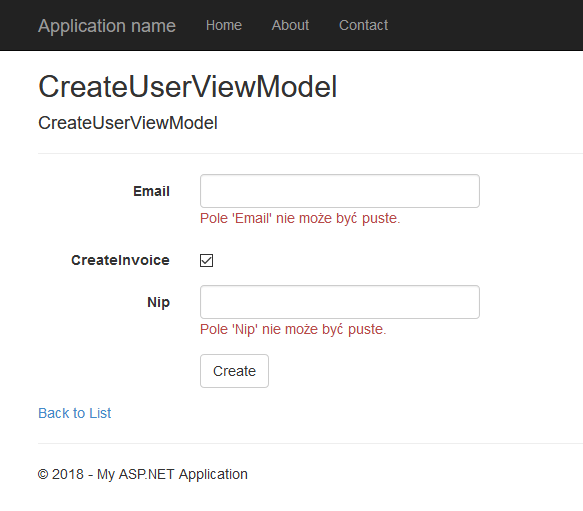 Wynik domyślnej integracji Fluent Validation z ASP.NET MVC