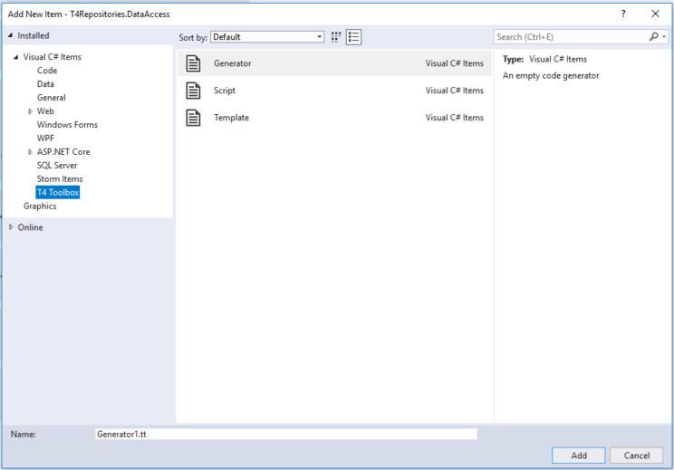 t4 repositories new item