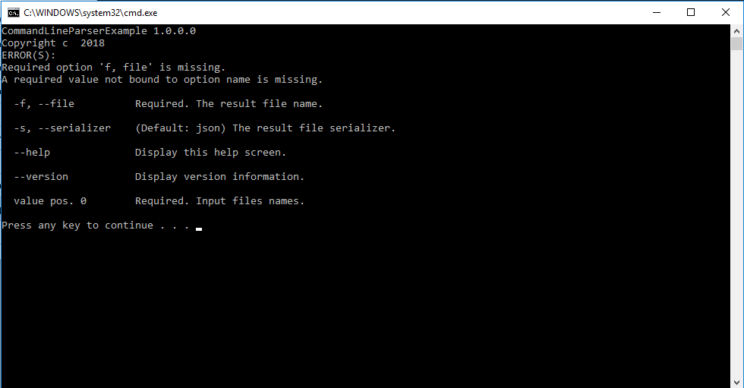 command parameteres result with errors