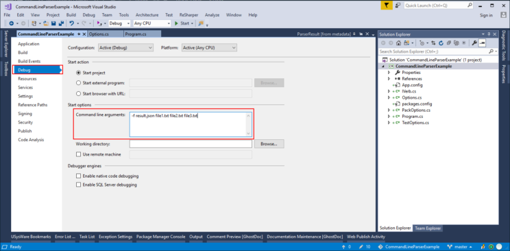 command parameters from visual studio