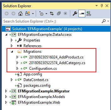 entity framework solution with migrations