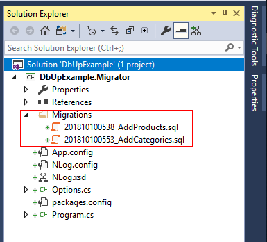 dbup solution explorer