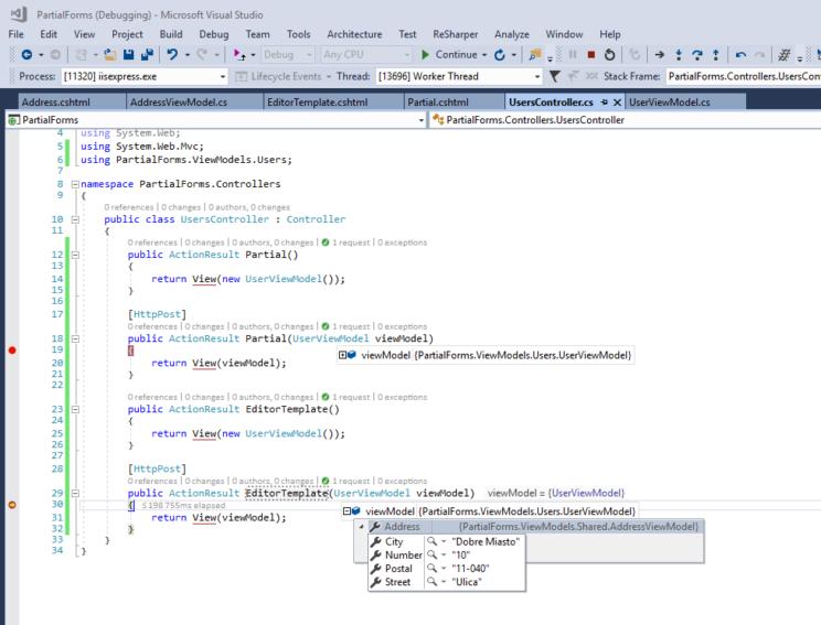editor templates debugger