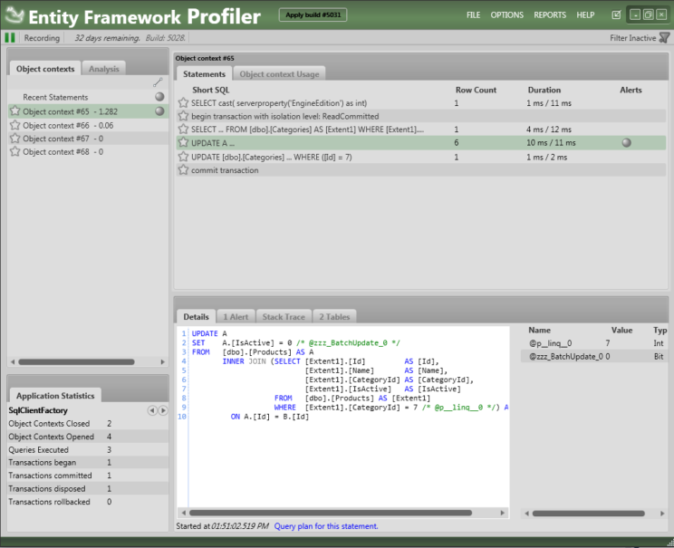 soft delete ef plus profiler with transaction