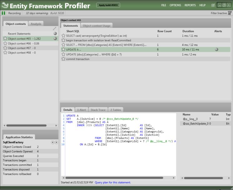 soft delete ef plus profiler with transaction