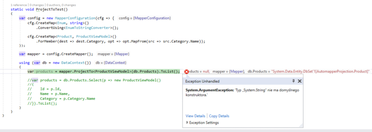 automapper projection exception during mapping enum