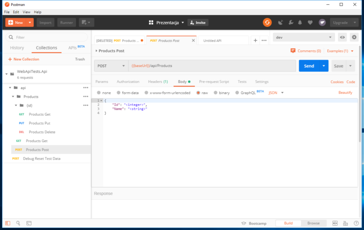 postman swagger add product request with json
