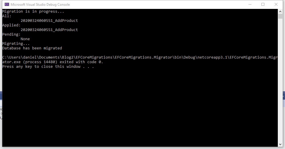 ef core migration migrator from vs