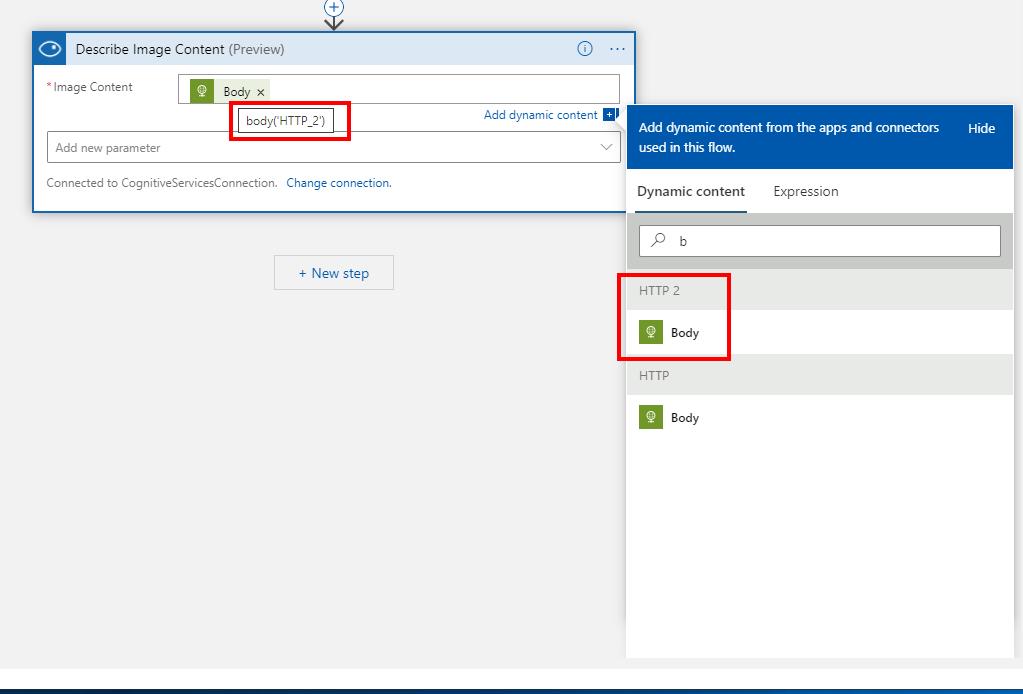 Konfiguracja analizy obrazka z wykorzystaniem Azure Cognitive Services.