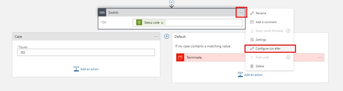 Przejście do opcji Configure run after