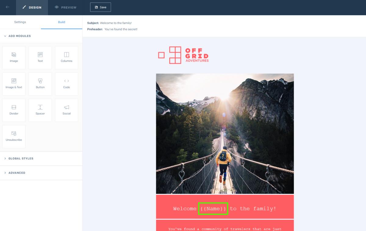 SendGrid wizualny edytor szablonów