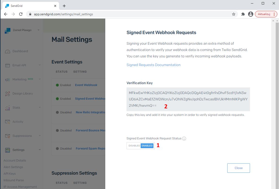 SendGrid signed webhook